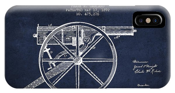 Weapons iPhone Case - Garland Machine Gun Patent Drawing From 1892 - Navy Blue by Aged Pixel