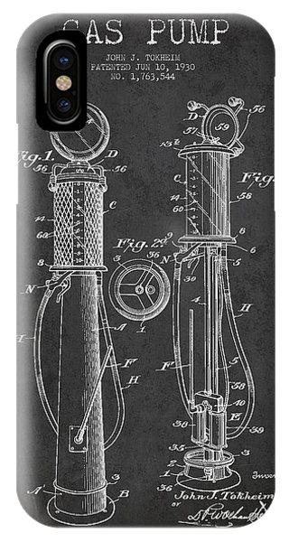 Gas Station iPhone Case - Gas Pump Patent Drawing From 1930 - Dark by Aged Pixel