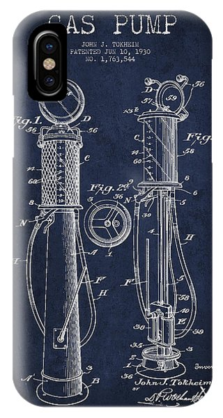 Gas Station iPhone Case - Gas Pump Patent Drawing From 1930 - Navy Blue by Aged Pixel