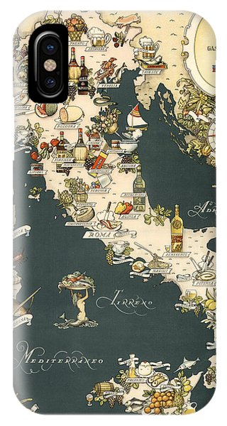 Gastronomic Map Of Italy 1949 IPhone Case