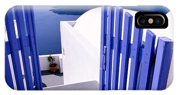 Greece iPhone X Case - Gate At The Terrace Of A House by Panoramic Images