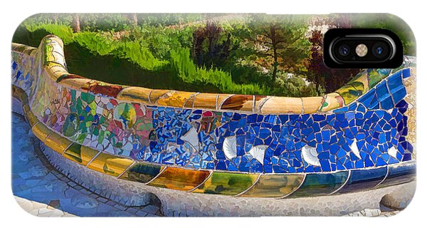 Park Bench iPhone Case - Gaudi's Park Guell - Impressions Of Barcelona by Georgia Mizuleva