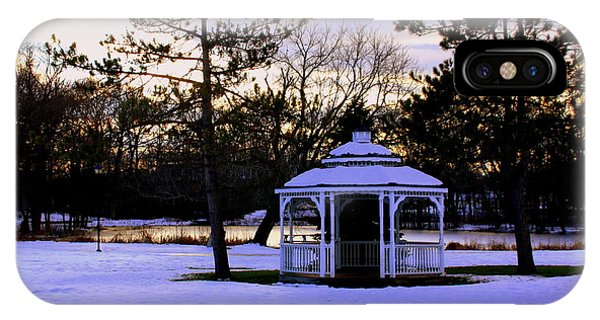 Gazebo  In Winter Wilmington Ma IPhone Case
