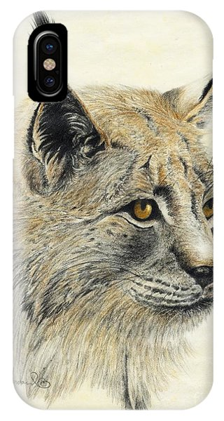 IPhone Case featuring the painting Gazing Lynx by Phyllis Howard