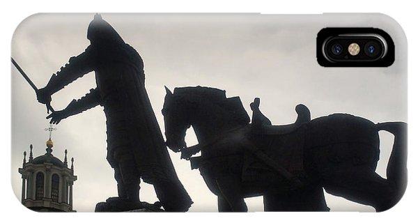 Gediminas Statue In Vilnius At Sunset IPhone Case