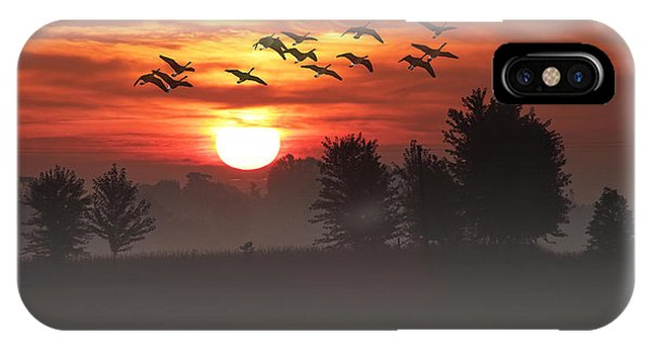 Geese On A Foggy Morning Sunrise IPhone Case