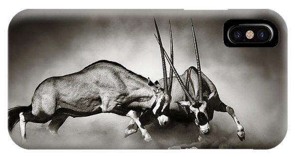 Monochrome iPhone Case - Gemsbok Fight by Johan Swanepoel