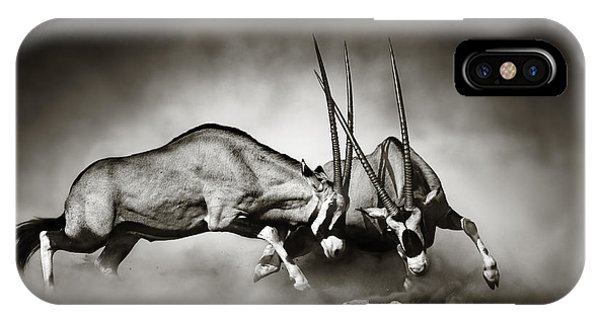 Monochrome iPhone Case - Gemsbok Fight by Johan Swanepoel