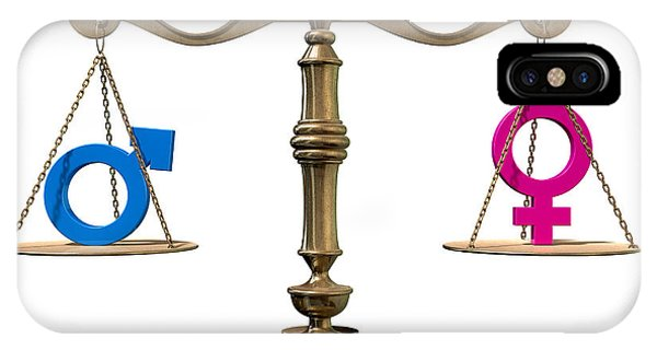 Equal Rights iPhone Case - Gender Equality Balancing Scale by Allan Swart