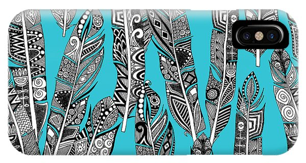 Geo Feathers Turquoise Blue IPhone Case
