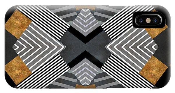 Geo iPhone Case - Geo Stripes In Gold And Black I by Lanie Loreth