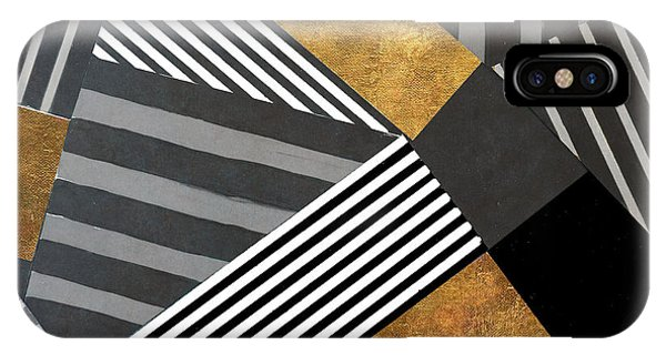 Geo Stripes In Gold And Black II IPhone Case