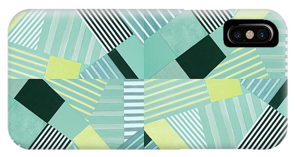 Geo Stripes In Pale Teal IPhone Case