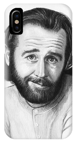 George iPhone Case - George Carlin Portrait by Olga Shvartsur