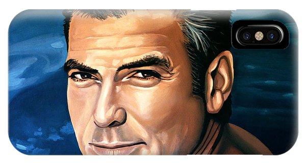 George iPhone Case - George Clooney 2 by Paul Meijering