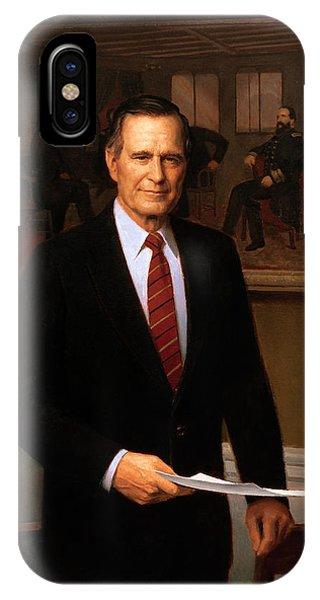 George Hw Bush Presidential Portrait IPhone Case