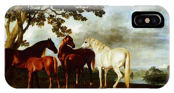 IPhone Case featuring the painting Horses by George Stubbs