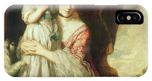 Georgiana, Countess Spencer With Lady Georgiana Spencer, 1759-61 Oil On Canvas IPhone Case