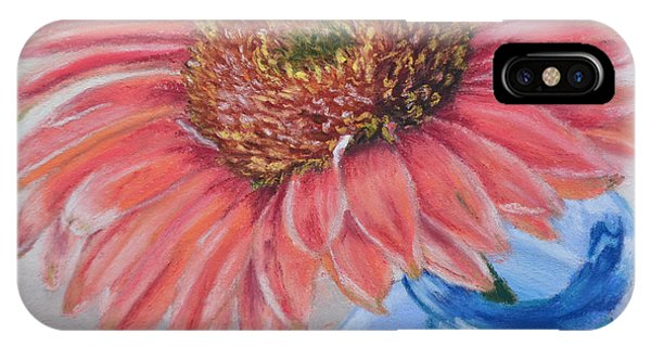 Gerbera Daisy With Blue Glass IPhone Case