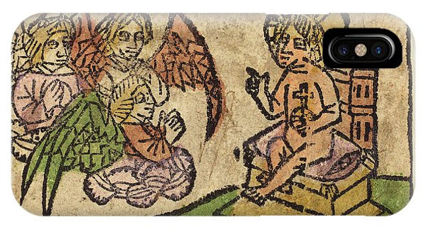 Lavender iPhone Case - German 15th Century, Christ Child With Three Angels by Litz Collection