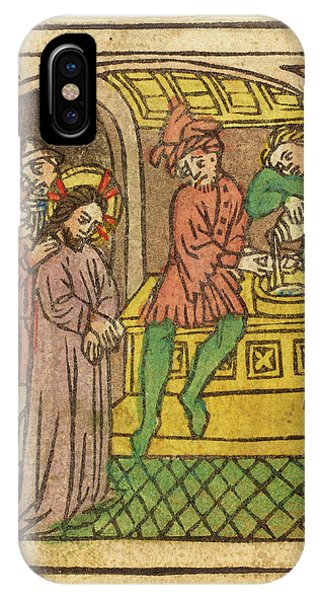Lavender iPhone Case - German 15th Century, Pilate Washing His Hands Recto by Litz Collection