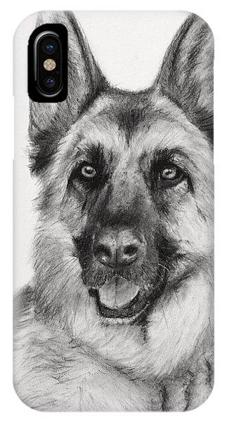 German Shepherd Drawn In Charcoal IPhone Case