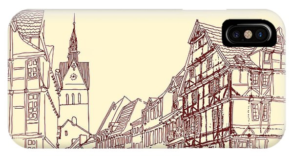 Attraction iPhone Case - German Town, Walking Street, Timber by Babayuka