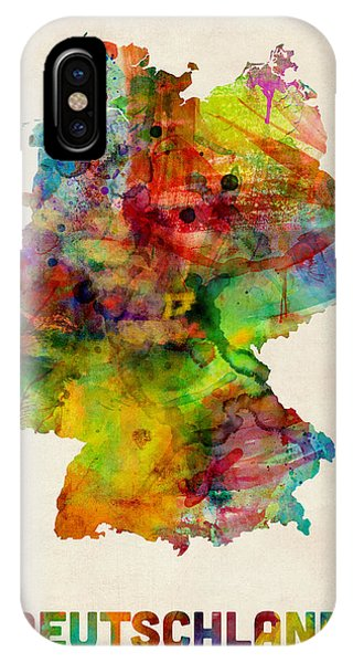 Print iPhone Case - Germany Watercolor Map Deutschland by Michael Tompsett