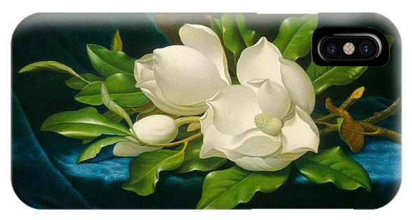 Fowl iPhone Case - Giant Magnolias On A Blue Velvet Cloth by Martin Johnson Heade