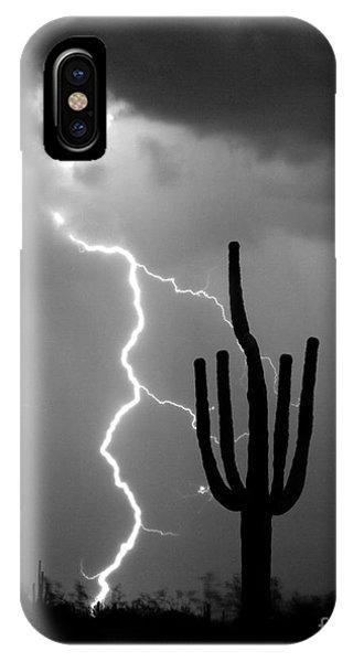 Giant Saguaro Cactus Lightning Strike Bw IPhone Case