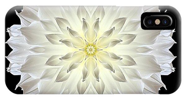 Giant White Dahlia Flower Mandala IPhone Case
