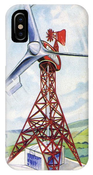 Free Will iPhone Case - Giant Windmills Will Harness  The Power by Mary Evans Picture Library
