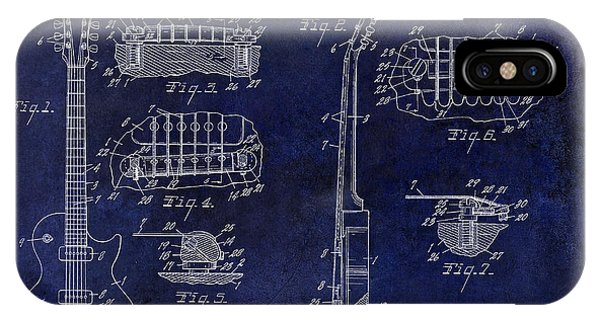 Patent iPhone Case - Gibson Les Paul Patent Drawing Blue by Jon Neidert