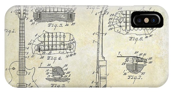 Electric Guitar iPhone Case - Gibson Les Paul Patent Drawing by Jon Neidert