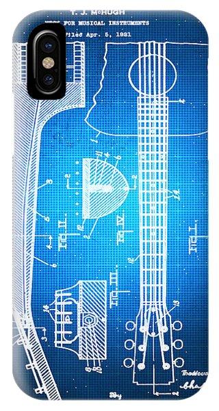 Gibson Thaddeus J Mchugh Guitar Patent Blueprint Drawing IPhone Case