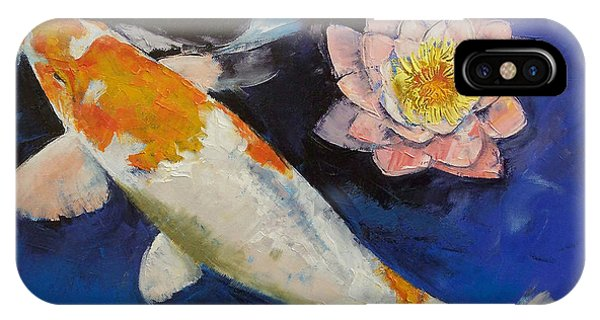 Fare iPhone Case - Gin Rin Koi And Water Lily by Michael Creese