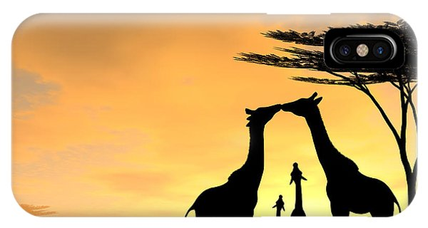 Giraffe iPhone Case - Giraffe Family Love Two Kids by Kim Freitas