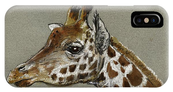 Drawing iPhone Case - Giraffe Head Study by Juan  Bosco