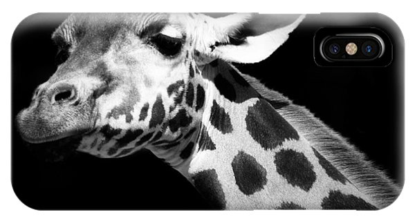 Black And White iPhone X Case - Portrait Of Giraffe In Black And White by Lukas Holas