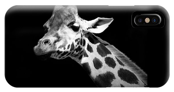Great White Shark iPhone Case - Portrait Of Giraffe In Black And White by Lukas Holas
