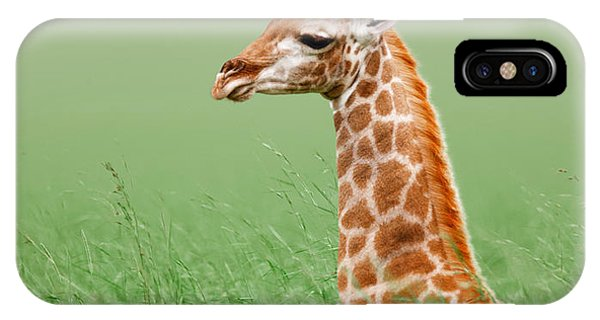 Giraffe Lying In Grass IPhone Case