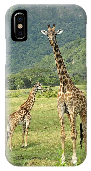 East Africa iPhone Case - Giraffe Mother And Calftanzania by Thomas Marent