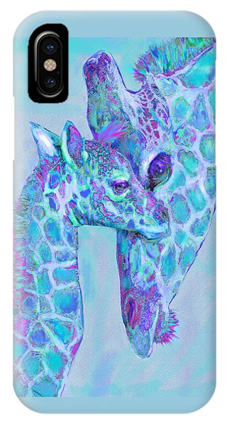 Giraffe Shades  Purple And Aqua IPhone Case