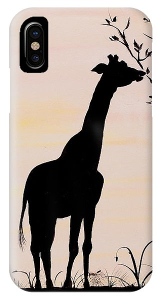 Giraffe iPhone Case - Giraffe Silhouette Painting By Carolyn Bennett by Simon Bratt Photography LRPS