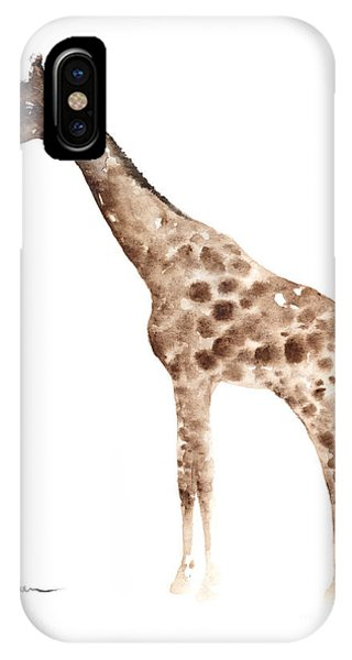 Giraffe iPhone Case - Giraffe Watercolor Art Print Painting African Animals Poster by Joanna Szmerdt