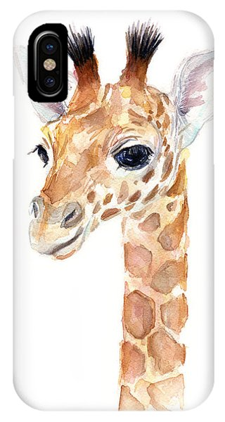 Giraffe iPhone Case - Giraffe Watercolor by Olga Shvartsur