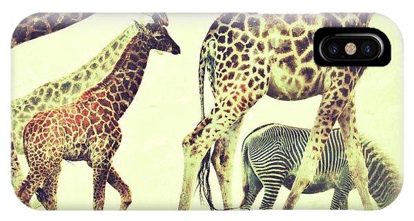 Giraffes And A Zebra In The Mist IPhone Case