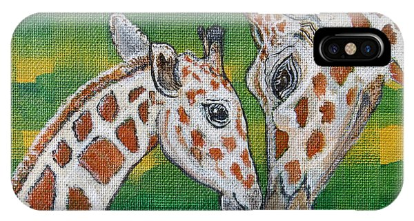 Giraffes Artwork - Learning And Loving IPhone Case