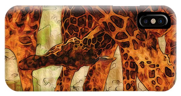 Digital Effect iPhone Case - Giraffes  by Jack Zulli