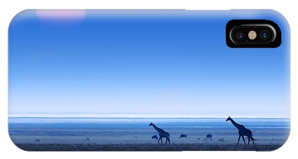 Giraffe iPhone Case - Giraffes On Salt Pans Of Etosha by Johan Swanepoel